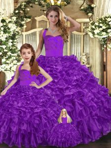Purple Halter Top Lace Up Ruffles Quinceanera Gown Sleeveless