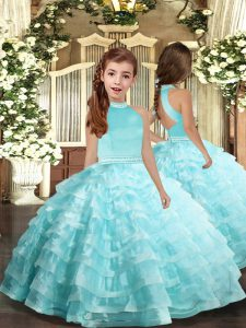 Gorgeous Aqua Blue Ball Gowns Organza Halter Top Sleeveless Beading and Ruffled Layers Floor Length Backless Girls Pageant Dresses