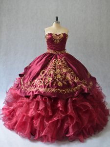 Lace Up Quinceanera Gowns Burgundy for Sweet 16 and Quinceanera with Beading and Embroidery Brush Train