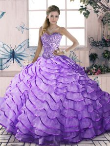 Lovely Lavender Sleeveless Beading and Ruffled Layers Floor Length Quinceanera Gown