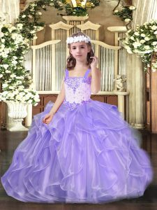 Lavender Ball Gowns Straps Sleeveless Organza Floor Length Lace Up Beading and Ruffles Pageant Gowns For Girls