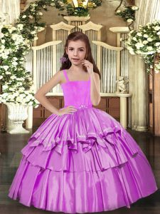Straps Sleeveless Lace Up Ruffled Layers Child Pageant Dress in Lilac