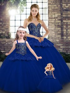 Clearance Ball Gowns Sweet 16 Dresses Royal Blue Sweetheart Tulle Sleeveless Floor Length Lace Up