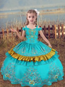 Floor Length Aqua Blue Pageant Gowns For Girls Satin Sleeveless Beading and Embroidery