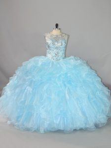 Superior Ball Gowns Quinceanera Gown Blue Scalloped Organza Sleeveless Floor Length Lace Up
