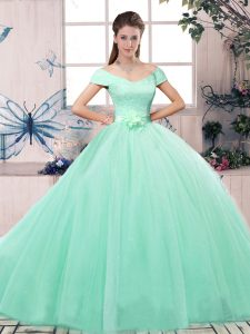 Eye-catching Apple Green 15th Birthday Dress Military Ball and Sweet 16 and Quinceanera with Lace and Hand Made Flower Off The Shoulder Short Sleeves Lace Up