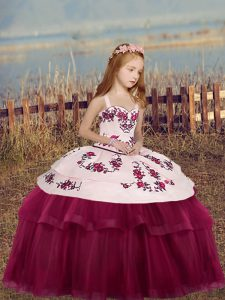 Ball Gowns Kids Pageant Dress Fuchsia Straps Tulle Sleeveless Floor Length Side Zipper