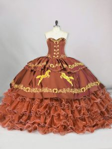 Pretty Sleeveless Embroidery and Ruffled Layers Lace Up Quinceanera Gowns with Brown Brush Train