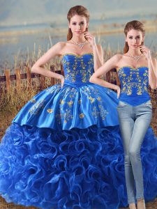 Royal Blue Sleeveless Fabric With Rolling Flowers Brush Train Lace Up 15th Birthday Dress for Sweet 16 and Quinceanera
