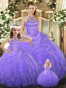 Great Lavender Lace Up Quinceanera Dresses Beading and Ruffles Sleeveless Floor Length