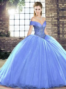 Fabulous Lavender Sweet 16 Dress Military Ball and Sweet 16 and Quinceanera with Beading Off The Shoulder Sleeveless Brush Train Lace Up