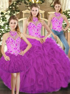Fuchsia Quinceanera Gowns Military Ball and Sweet 16 and Quinceanera with Embroidery and Ruffles Halter Top Sleeveless Lace Up