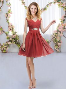 Red Dama Dress for Quinceanera Wedding Party with Belt V-neck Sleeveless Zipper