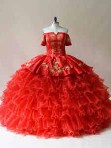 Floor Length Red 15 Quinceanera Dress Organza Sleeveless Embroidery and Ruffled Layers