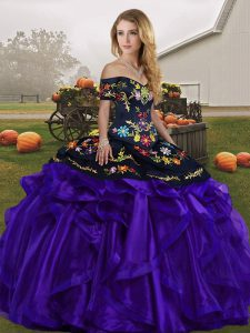Discount Black And Purple Sleeveless Floor Length Embroidery and Ruffles Lace Up Quince Ball Gowns
