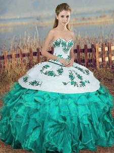 Edgy Turquoise Sweetheart Neckline Embroidery and Ruffles and Bowknot 15th Birthday Dress Sleeveless Lace Up