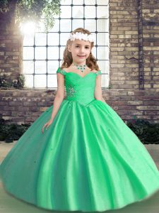 Pretty Apple Green Lace Up Little Girls Pageant Dress Wholesale Beading Sleeveless Floor Length