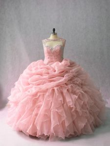 Unique Pink Lace Up Scoop Beading and Ruffles and Pick Ups 15th Birthday Dress Organza Sleeveless Brush Train