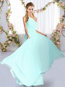 Fashion Blue One Shoulder Lace Up Ruching Quinceanera Dama Dress Sleeveless