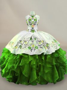 Halter Top Sleeveless Quinceanera Dress Floor Length Embroidery Green Organza
