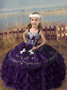 Popular Floor Length Purple Child Pageant Dress Straps Sleeveless Lace Up
