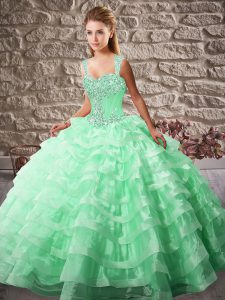 Lace Up Quinceanera Dresses Apple Green for Sweet 16 and Quinceanera with Beading and Ruffled Layers Court Train