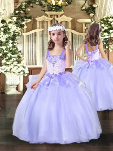 Sleeveless Beading Lace Up Little Girl Pageant Gowns
