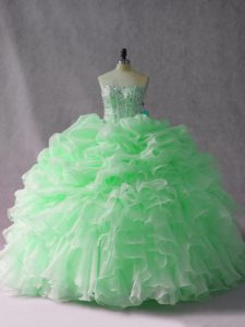 Apple Green Lace Up Strapless Beading and Ruffles Quinceanera Dresses Organza Sleeveless Brush Train
