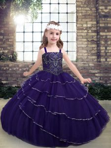 Floor Length Ball Gowns Sleeveless Purple Little Girl Pageant Dress Lace Up