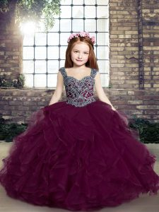 Beauteous Purple Ball Gowns Tulle Straps Sleeveless Beading and Ruffles Floor Length Lace Up Little Girls Pageant Dress