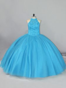 Deluxe Tulle Sleeveless 15 Quinceanera Dress Brush Train and Beading and Lace