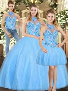 Embroidery Quinceanera Gown Baby Blue Lace Up Sleeveless Floor Length