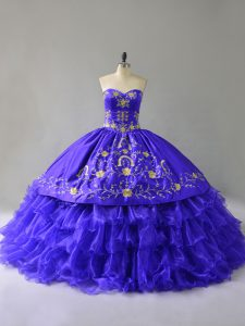 High Quality Organza Sweetheart Sleeveless Lace Up Embroidery and Ruffled Layers Quince Ball Gowns in Blue