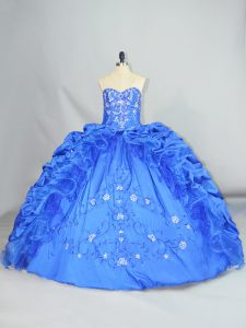 Taffeta Sleeveless Floor Length Quinceanera Gown and Embroidery and Pick Ups