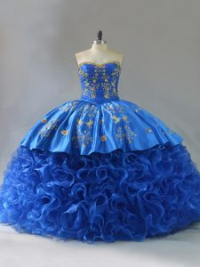 Lace Up Quince Ball Gowns Royal Blue for Sweet 16 and Quinceanera with Embroidery and Ruffles