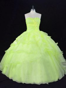 Discount Organza Sweetheart Sleeveless Lace Up Ruffles and Hand Made Flower Sweet 16 Dress in Yellow Green