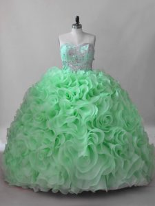Sweetheart Lace Up Beading Quinceanera Dress Brush Train Sleeveless