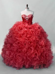 Fine Red Ball Gowns Organza Sweetheart Sleeveless Sequins Floor Length Lace Up Ball Gown Prom Dress