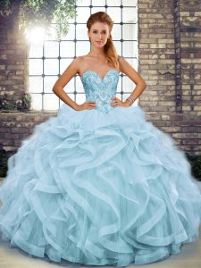 Fitting Light Blue Lace Up Sweetheart Beading and Ruffles Quinceanera Gowns Tulle Sleeveless