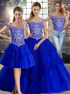 Smart Sleeveless Brush Train Beading and Lace Lace Up 15 Quinceanera Dress