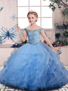 Beading and Ruffles Kids Pageant Dress Blue Lace Up Sleeveless Floor Length