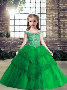 Sleeveless Tulle Floor Length Lace Up Pageant Dress for Teens in Green with Beading and Lace and Appliques
