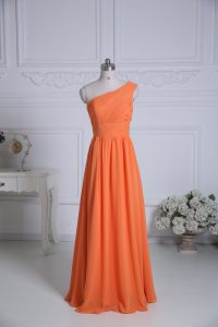 Pretty Orange One Shoulder Zipper Ruching Dama Dress Sleeveless