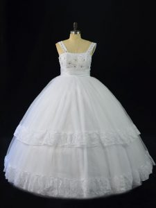 Straps Sleeveless Lace Up Quinceanera Dresses White Tulle