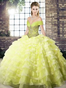 Organza Off The Shoulder Sleeveless Brush Train Lace Up Beading and Ruffled Layers Ball Gown Prom Dress in Yellow