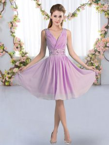 Empire Quinceanera Dama Dress Lavender V-neck Chiffon Sleeveless Knee Length Zipper