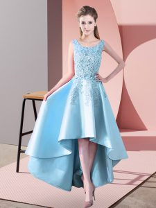 Aqua Blue A-line Satin Scoop Sleeveless Lace High Low Zipper Dama Dress