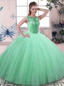 Stylish Beading 15 Quinceanera Dress Apple Green Lace Up Sleeveless Floor Length