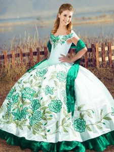 Floor Length Green Quinceanera Gowns Satin and Organza Sleeveless Embroidery and Ruffles