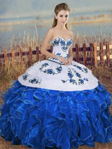 Sweetheart Sleeveless Lace Up Sweet 16 Dresses Blue And White Organza